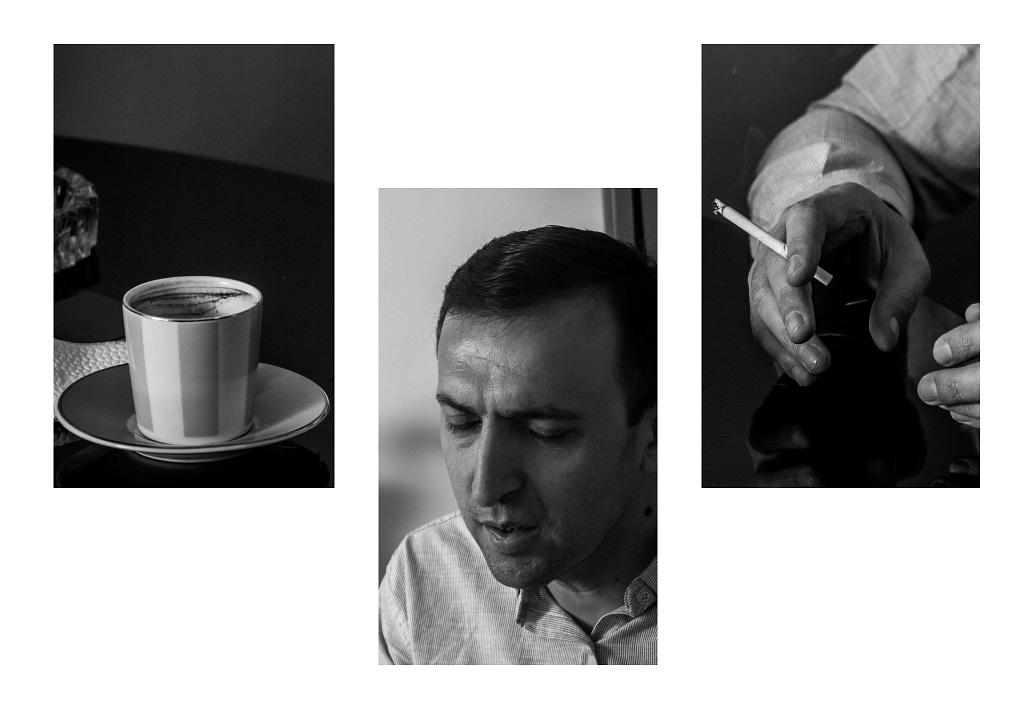 Коллаж из 3 фото, чашка кофе, Ашот, руки с сигаретой